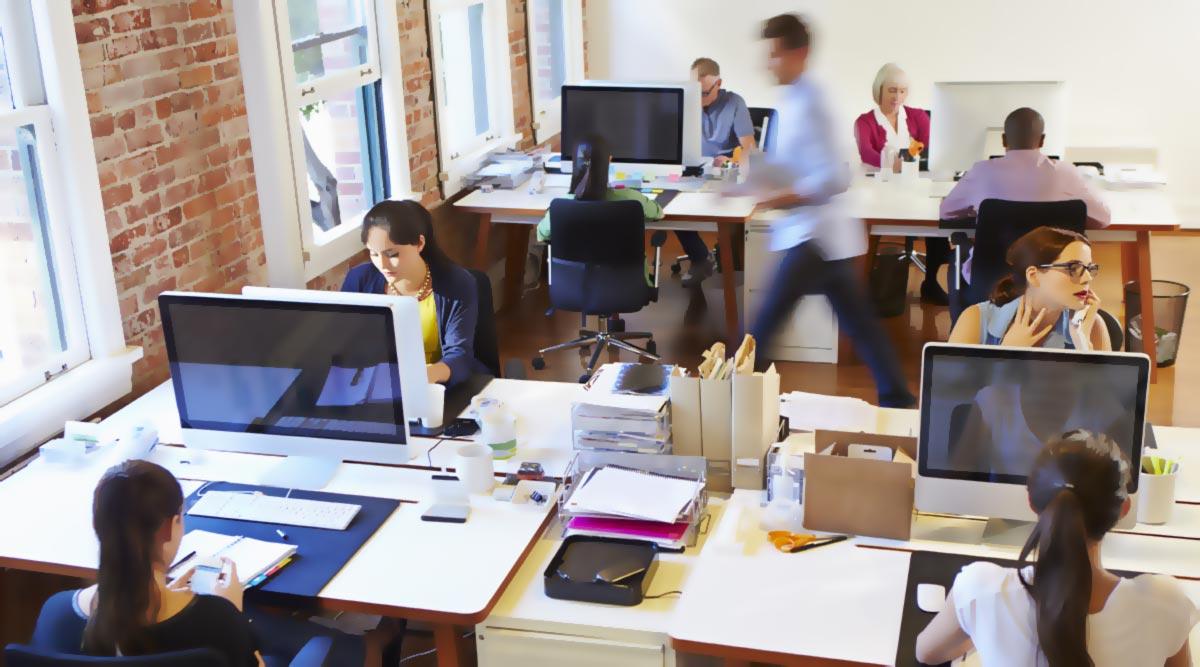 Oficina comercial con empleados trabajando.